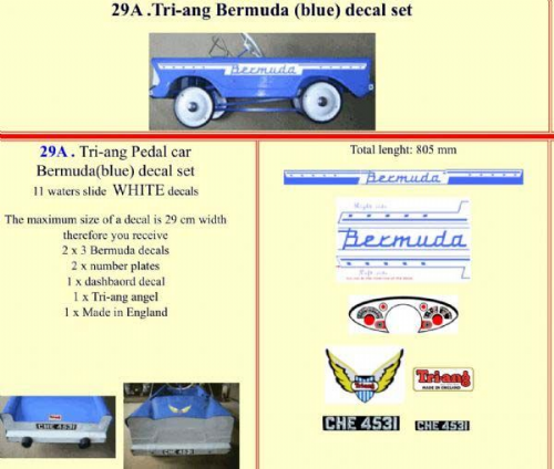 29A Tri-ang Bermuda (blue) decal set